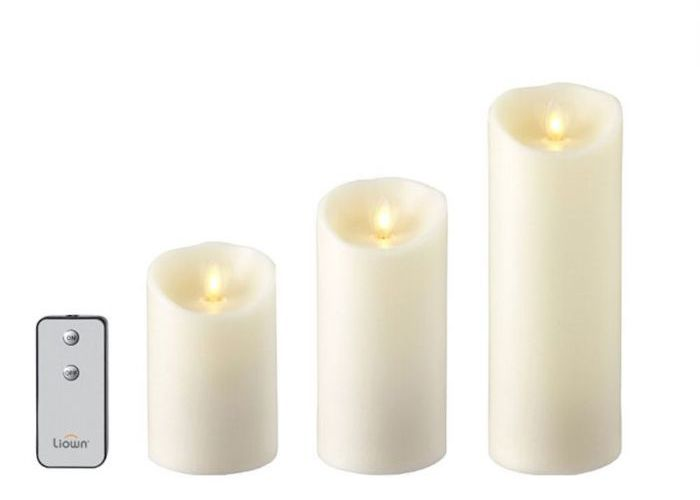 Wax Pillar Candle Set/3 Ivory (3