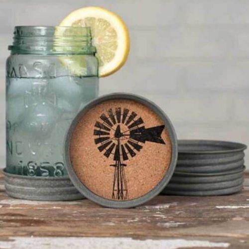 Mason Jar Lid Coaster Windmill