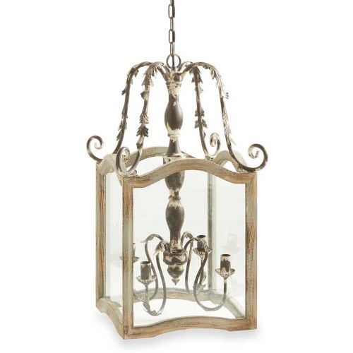 LF Rustic Cream Wood & Metal Chandelier