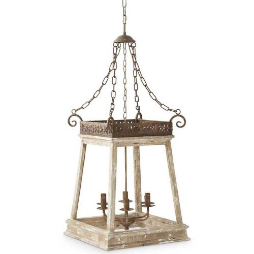 LF 4 Sided Metal & Wood Chandelier
