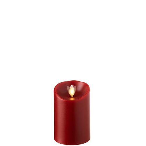 Wax Pillar Flameless Candle With Timer Red 3