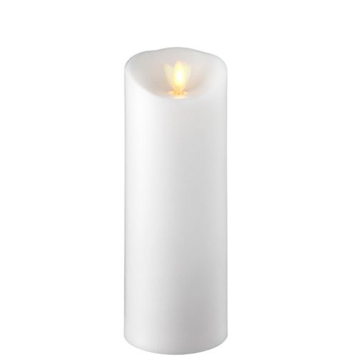 Wax Pillar Flameless Candle With Timer White 3