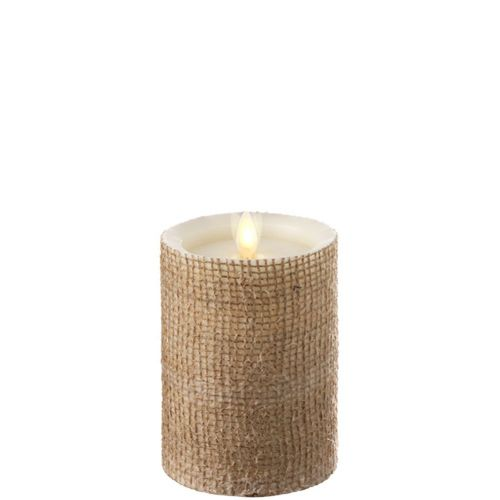 Burlap Wrapped Flameless Candle 3.5