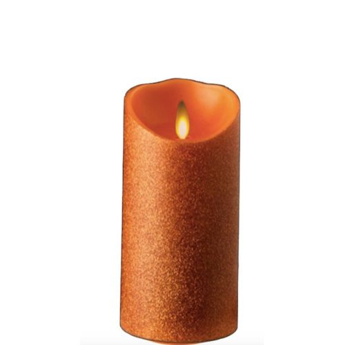 Glitter Orange Wax Pillar Flameless Candle 3.5