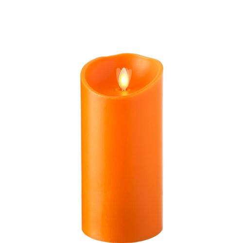 Wax Pillar Flameless Candle With Timer Orange 3.5