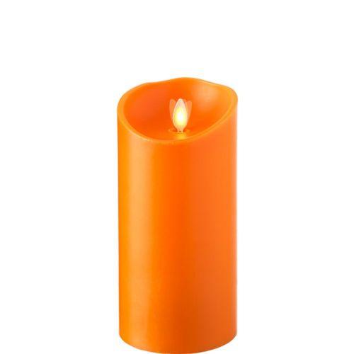 Wax Pillar Fireless Candle With Timer Orange 3.5