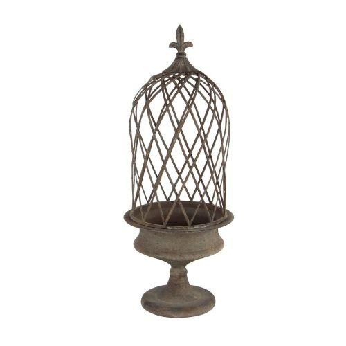 Lantern Metal 2 Piece W/ Fleur De Lis Finial