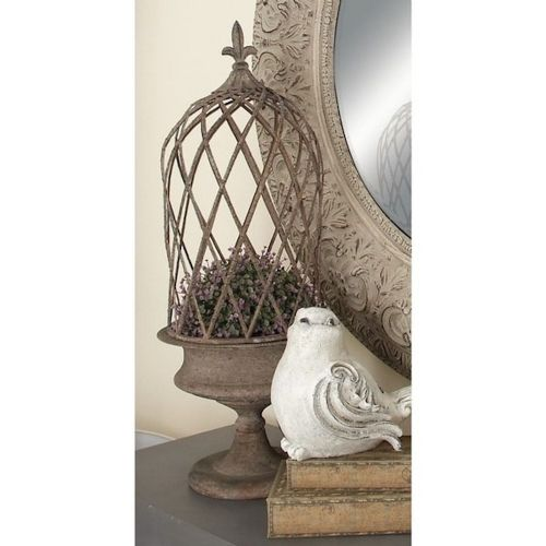 Planter 2 Piece Metal Container W/Fleur De Lis Finial