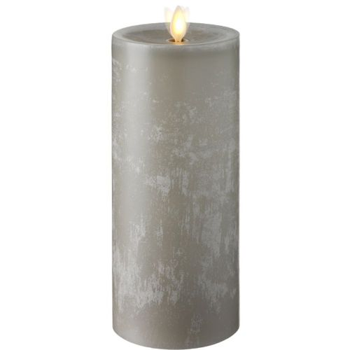 Wax Pillar Flat Top With Timer Light Grey 3.5