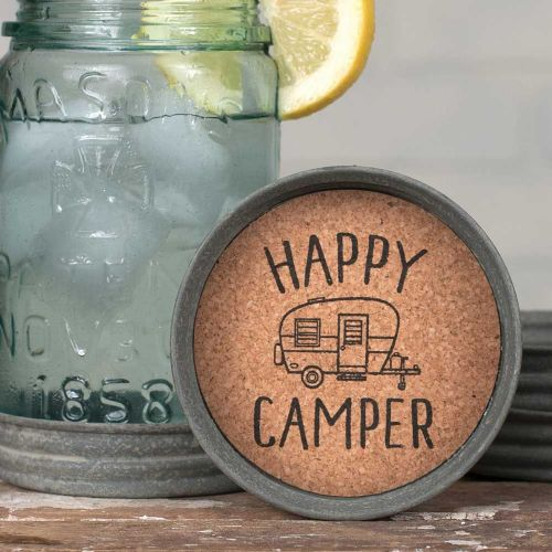 Mason Jar Lid Coaster Happy Camper