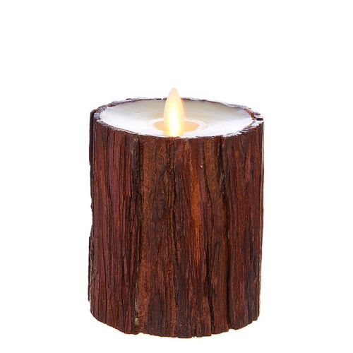 Wax Pillar Fireless Candle Cedar 3.5