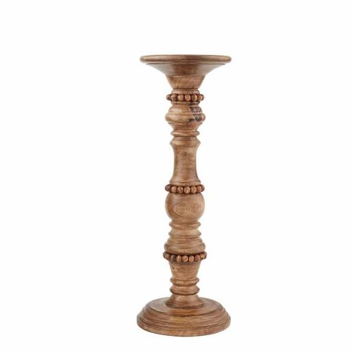 Candle Holders Wood Beaded | Brown
