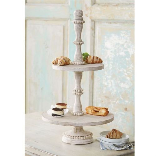 Tray Beaded Wood Tiered Server