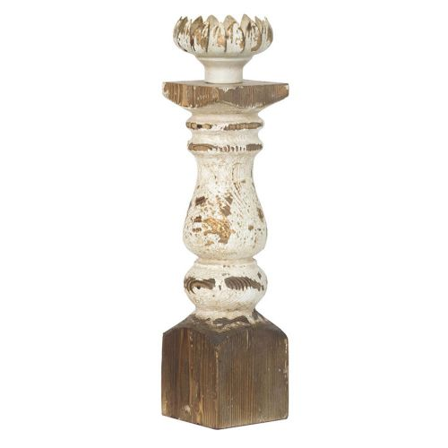 Vintage Distressed Wood Candle Holder