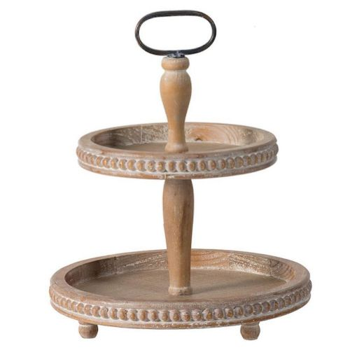 Tray 2 Tier Wood Beaded (Oval Handle)