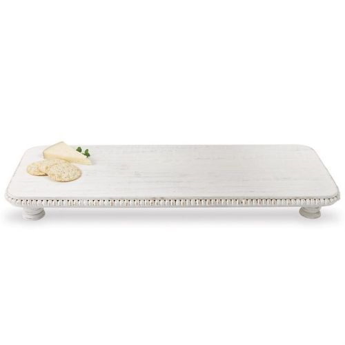 Tray/Riser Rectangle White Washed W/Bead Trim