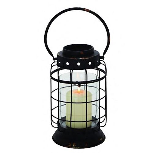 Lantern Black Metal W/ Glass Cylinder