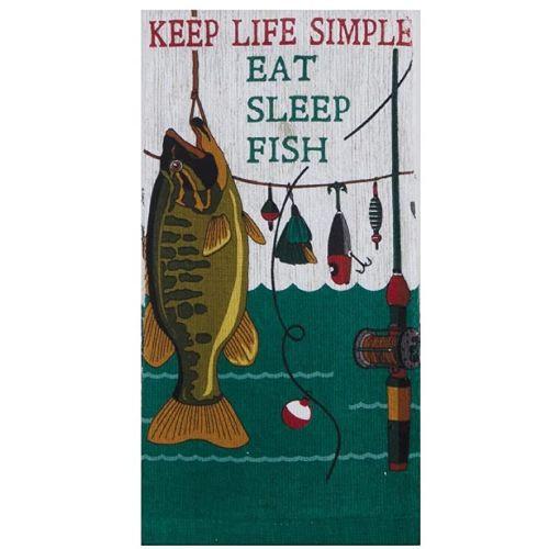 KT Eat Sleep Fish Tea Towel