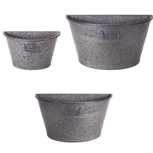 Galvanized 1/2 Tub Containers Set/3