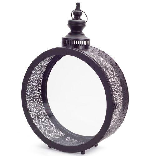 Round Black Filigree Lantern Large