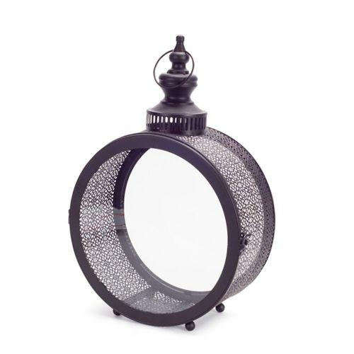 Round Black Filigree Lantern Small