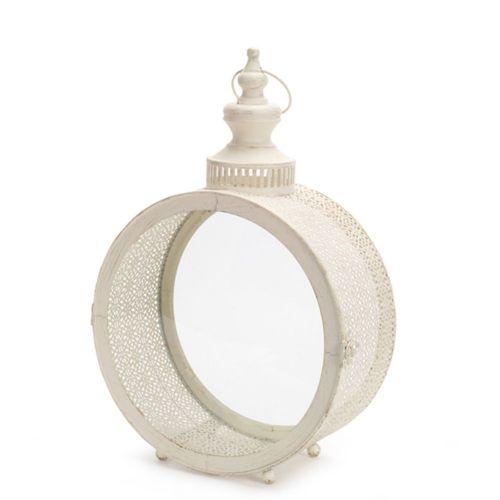Round Ivory Filigree Lantern Small