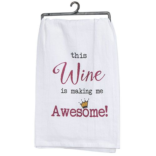 KT Wine Is Making Me Awesome Tea Towel