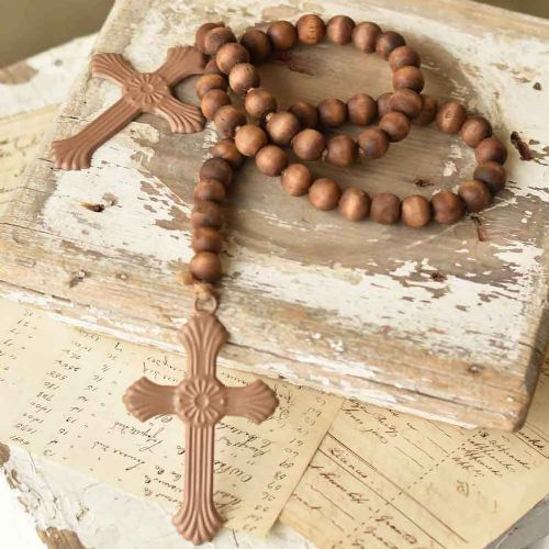 Beaded Cross Garland | Natural