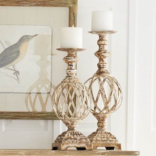 Candle Holder Set/2 Woven Metal