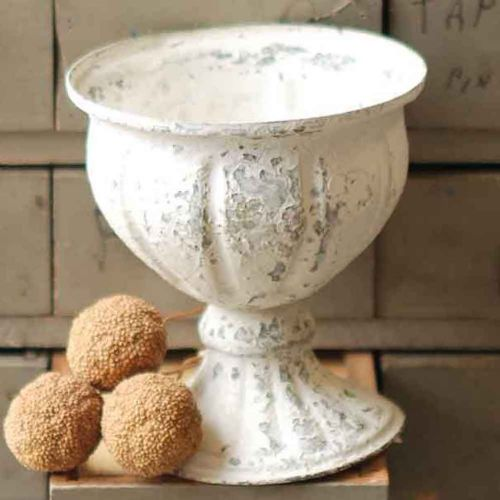 Chippy Creamy White Metal Goblet 5.5