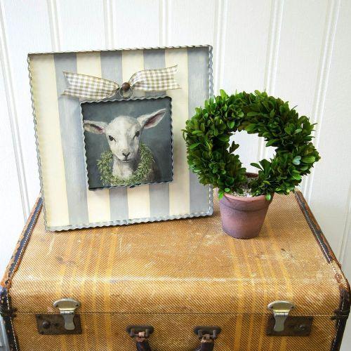 Mini Lamb with Wreath Print