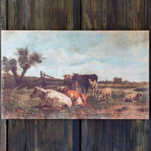 Cows In Pasture Print On Canvas