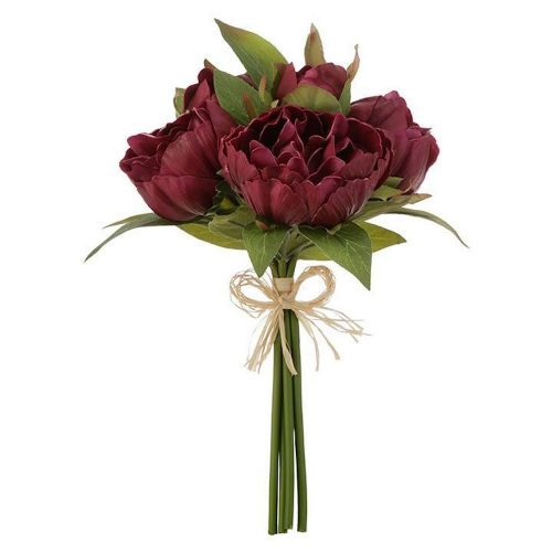 Real Touch Peony Bundle Burgundy 12