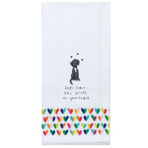 KT Dogs Leave Paw Prints On Your Heart Tea Towel