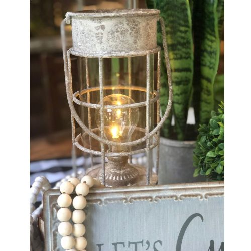 Lantern LED Metal/Glass | White