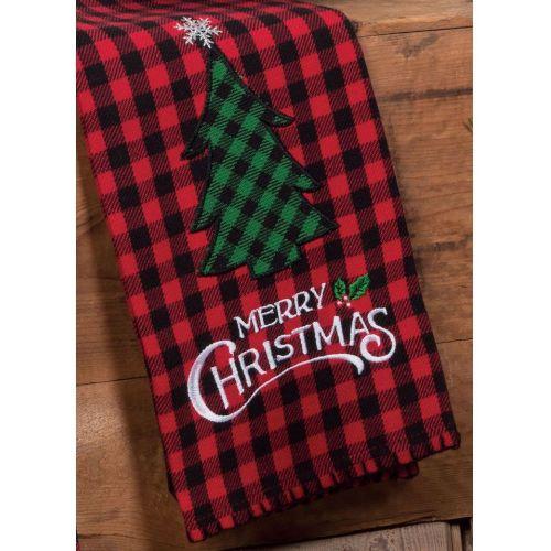 KT Merry Christmas W/ Tree Appliqué Tea Towel