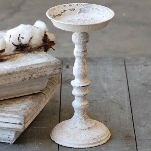 Chippy Farmhouse Creamy White Candle Holder 12