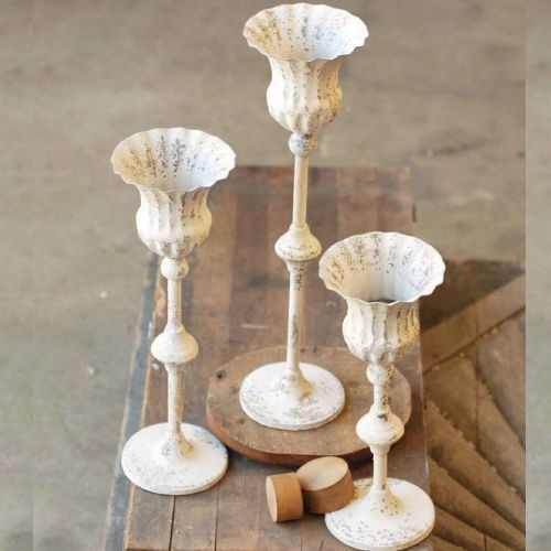"""Chippy Farmhouse Creamy White Candle Holder/Fluted 15"""""""