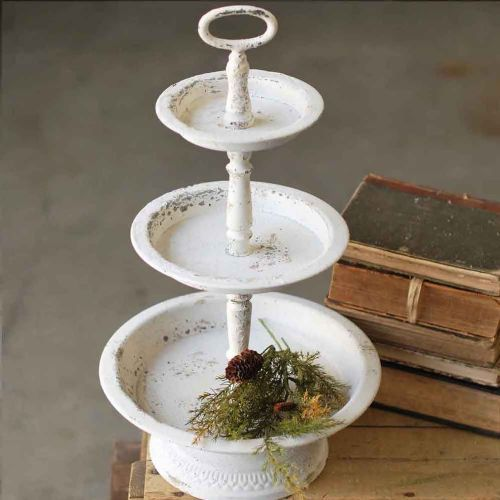 Tray | 3 Tier Tray Distressed White Wash Metal