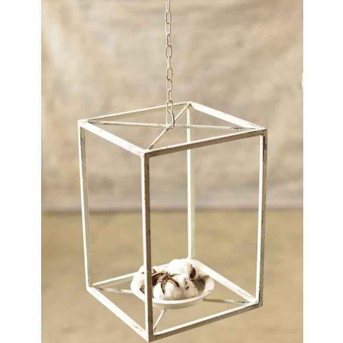 Chippy White Metal Lantern 14
