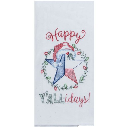 Happy Y'allidays Embroidered Tea Towel with the Texas Star