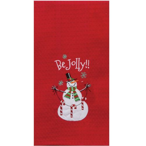 Holiday Be Jolly Embroidered Tea Towel