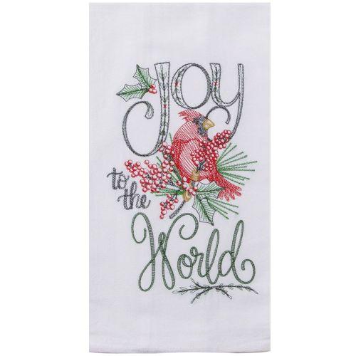 Holiday Cardinal Embroidered Tea Towel