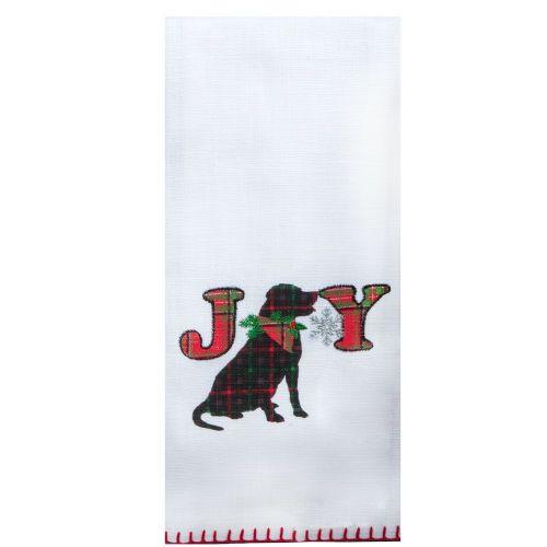 Holiday Dog Appliqué Tea Towel