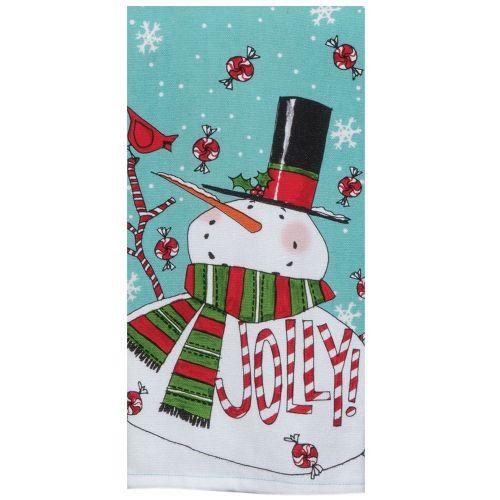 Holiday Jolly Snowman Tea Towel