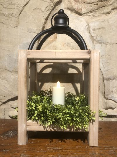 Lantern (Rectangle Open Wood & Metal)