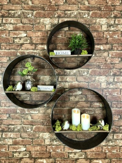 Galvanized Wall Shelves Set of 3