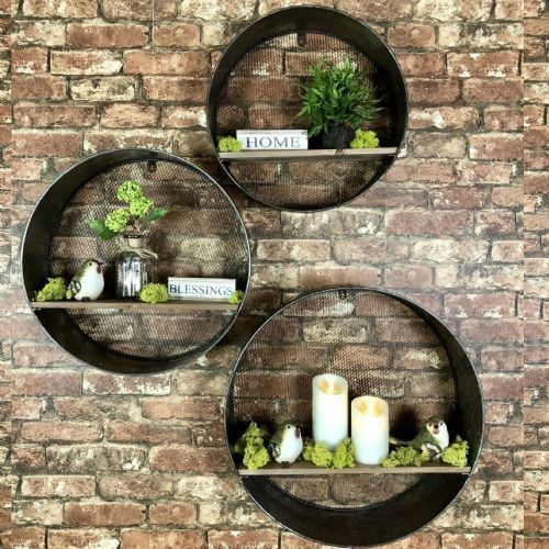 Galvanized Wall Shelves Set of 3