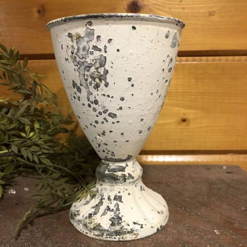 Chippy Farmhouse Creamy White Goblet 6""