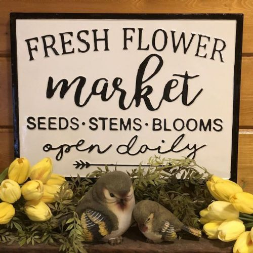 """Fresh Flower Market"" Metal Sign"